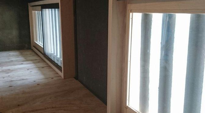 日本建築の換気窓に引き戸取り付け